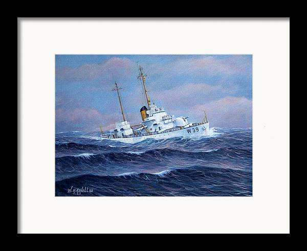Marine Art Framed Print featuring the painting U. S. Coast Guard Cutter Owasco by William H RaVell III