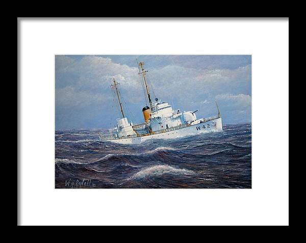 Marine Art Framed Print featuring the painting U. S. Coast Guard Cutter Sebago Takes A Roll by William H RaVell III