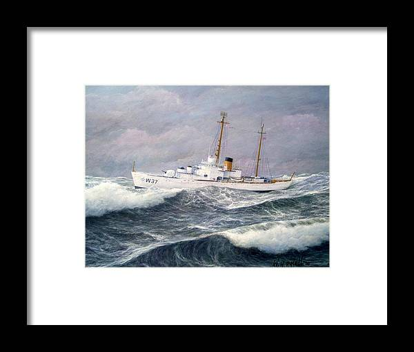 Ships Framed Print featuring the painting U. S. Coast Guard Cutter Taney by William Ravell