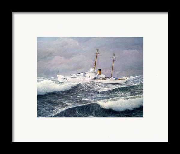 Ships Framed Print featuring the painting U. S. Coast Guard Cutter Taney by William H RaVell III