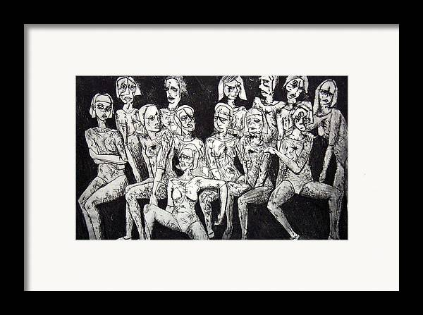 Etching Framed Print featuring the print Ugly Girls by Thomas Valentine