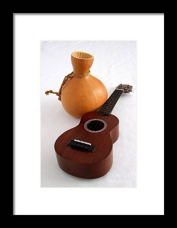 Mary Deal Framed Print featuring the photograph Ukulele And Ipu by Mary Deal