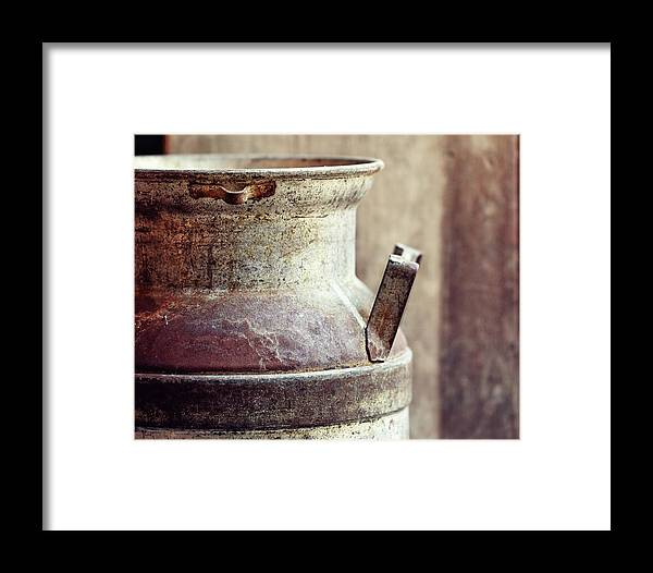 Milk Can Framed Print featuring the photograph Ultra Pasteurized by Alison Sherrow I AgedPage