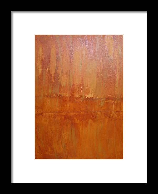 Abstract Framed Print featuring the painting Umber Abyss by Jana DiMartino