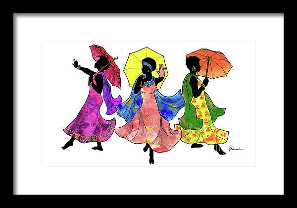 Umbrella Framed Print featuring the painting Umbrella Strut by Marcella Muhammad