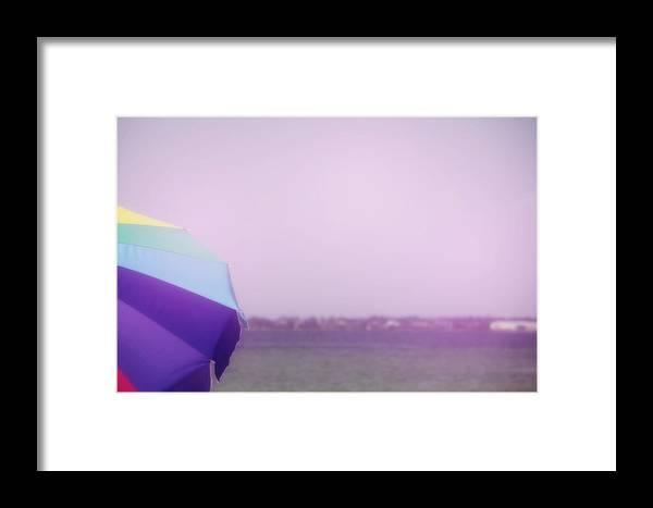 Beach Framed Print featuring the photograph Umbrella On A Beach by Toni Hopper