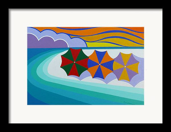 Beach Framed Print featuring the painting Umbrellas On The Beach by James Cordasco