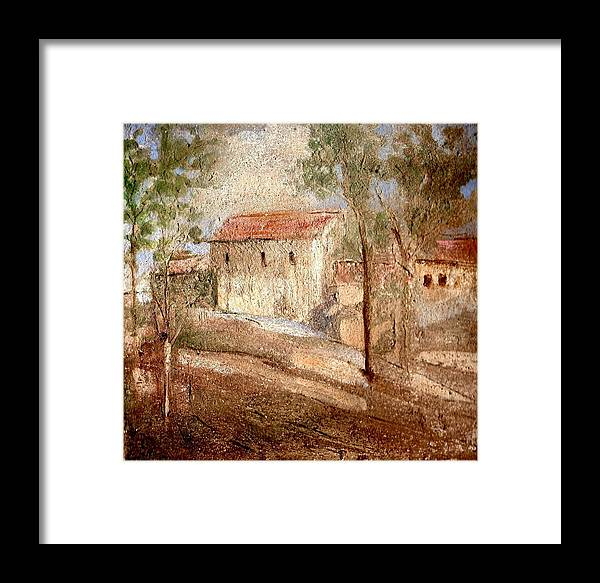 Landscape Framed Print featuring the painting Umbria by Maria Grazia Repetto
