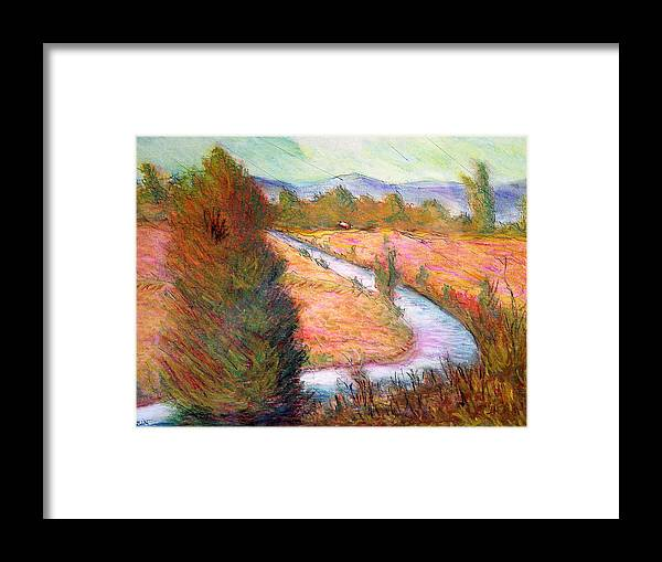 Umbrian Framed Print featuring the pastel Umbrian Landscape by Tom Herrin