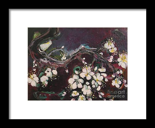 Ume Blossoms Paintings Framed Print featuring the painting Ume Blossoms by Seon-Jeong Kim