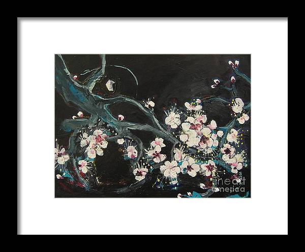 Ume Blossoms Paintings Framed Print featuring the painting Ume Blossoms2 by Seon-Jeong Kim