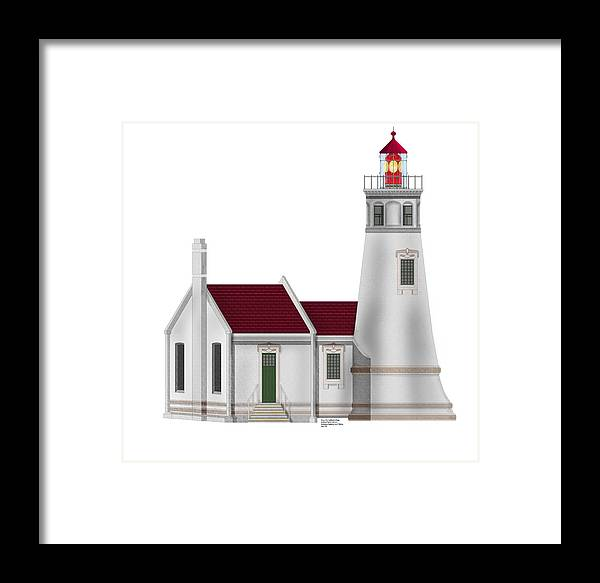 Lighthouse Framed Print featuring the painting Umpqua River Lighthouse In Oregon by Anne Norskog