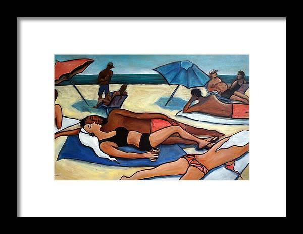 Beach Scene Framed Print featuring the painting Un Journee a la plage by Valerie Vescovi