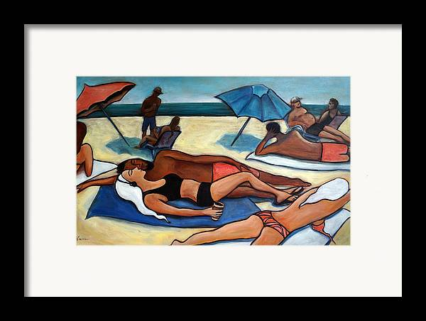 Beach Scene Framed Print featuring the painting Un Journee A La Plage by Valerie Vescovi
