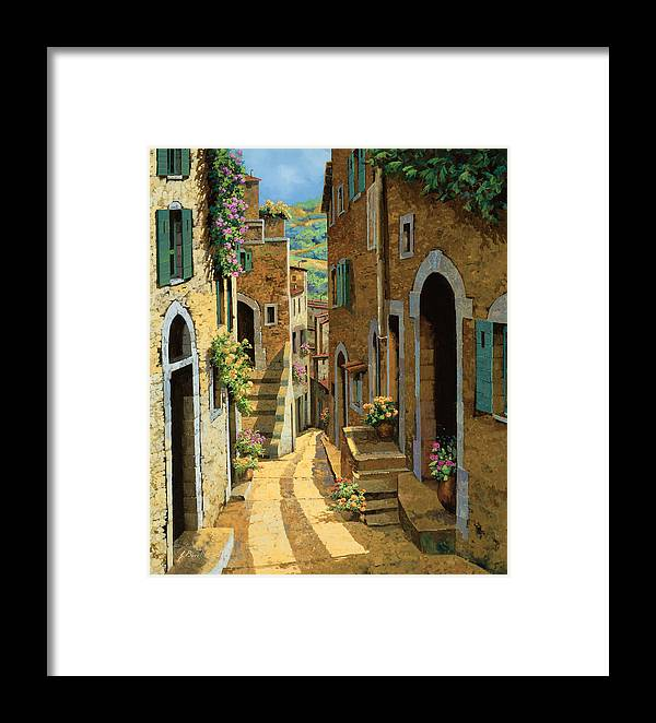 Village Framed Print featuring the painting Un Passaggio Tra Le Case by Guido Borelli