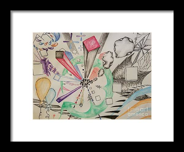 Abstract Framed Print featuring the mixed media Unbalanced Dragon by David Lou