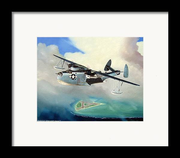 Military Framed Print featuring the painting Uncle Bubba's Flying Boat by Marc Stewart