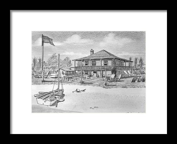 Willoughby Spit Framed Print featuring the drawing Uncle Edgar S Willoughby House by Vic Delnore