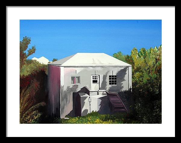 Island Scenes Framed Print featuring the painting Uncle Leons House by Caleb Bynum