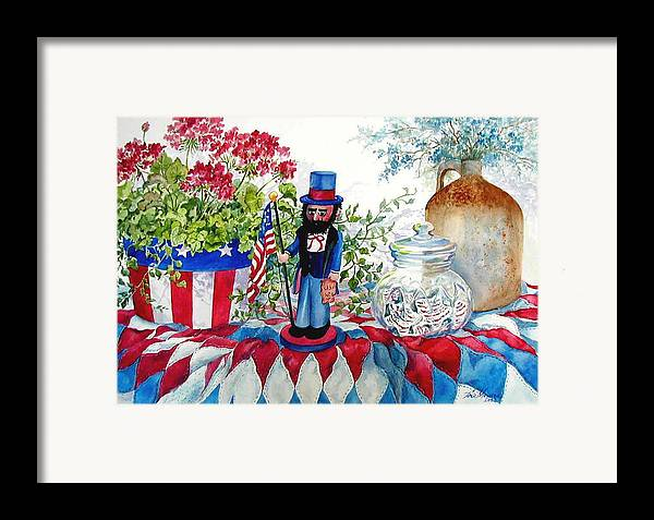 Americana;patriotic;uncle Sam;quilt;stars And Stripes;nutcracker;watercolor Painting; Framed Print featuring the painting Uncle Sam And Star Cookies by Lois Mountz