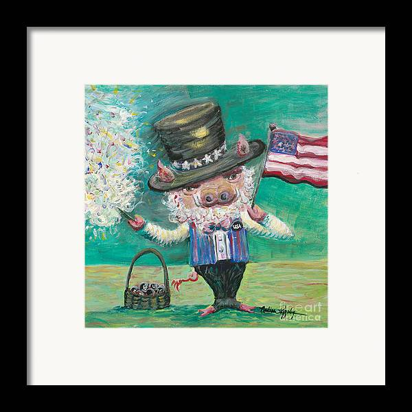 Fourth Of July Framed Print featuring the painting Uncle Spam by Nadine Rippelmeyer