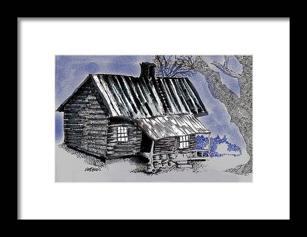 Cabin Framed Print featuring the drawing Under a Tin Roof by Seth Weaver