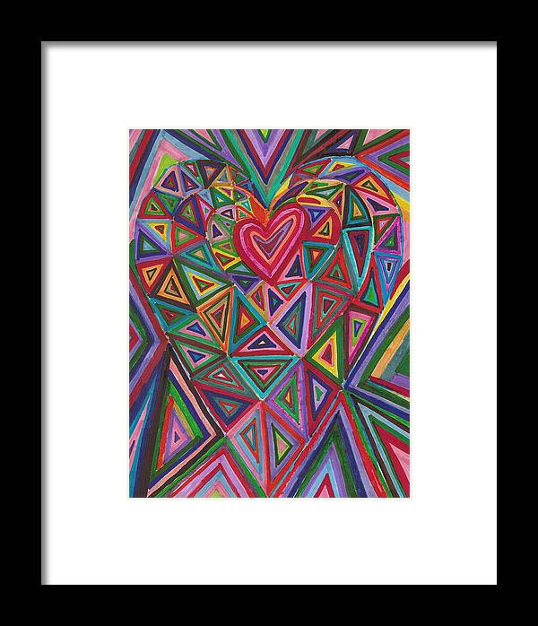Abstract Geoimetric Shapes Drawing Heart Framed Print featuring the painting Under Construction by Brenda Adams