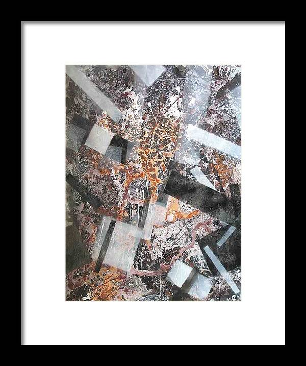 Abstract Framed Print featuring the painting Under Construction by Evguenia Men