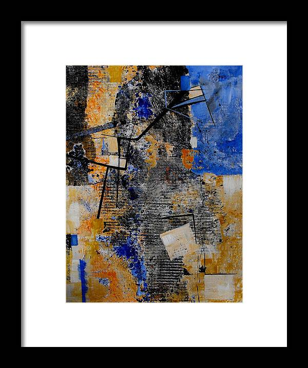 Abstract Framed Print featuring the painting Under Construction by Ruth Palmer