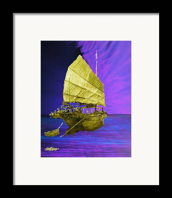 Nautical Framed Print featuring the digital art Under Golden Sails by Seth Weaver