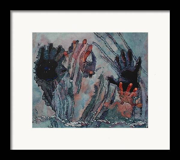 Underneath Framed Print featuring the painting Under Ice by Valerie Patterson