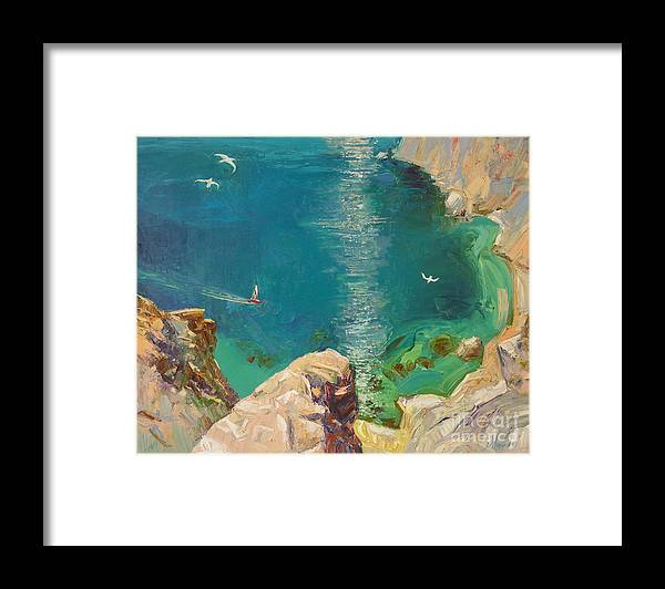 Landscape Framed Print featuring the painting Under Motyl by Sergey Ignatenko