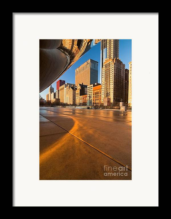 Chicago Framed Print featuring the photograph Under The Bean And Chicago Skyline At Sunrise by Sven Brogren