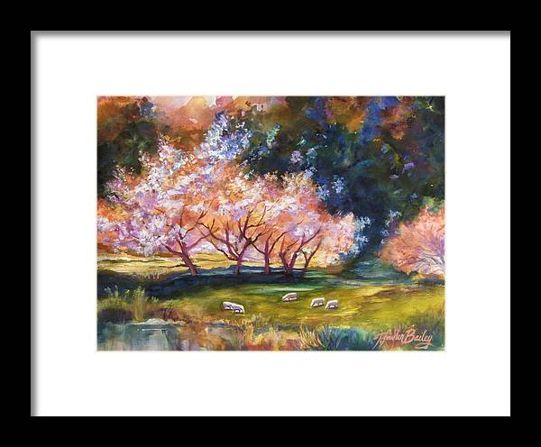 Sheep Grazing Framed Print featuring the painting Under The Blossom Trees Sold by Therese Fowler-Bailey