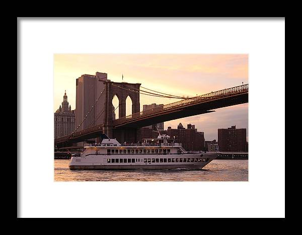 New York Framed Print featuring the photograph Under The Brooklyn Bridge by Dora Sofia Caputo Photographic Design and Fine Art