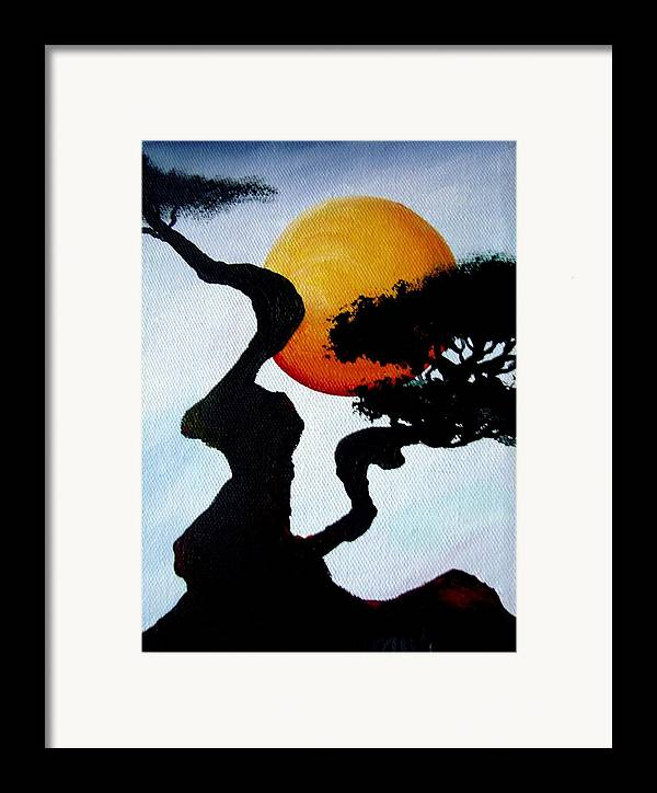 Landscape Framed Print featuring the painting Under The Moon by Glory Fraulein Wolfe