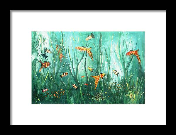 Under The Sea Fish Tank Salt Water Fish Ocean Dancing Fish Swimming Water Seaweed Framed Print featuring the painting under the sea I by Miroslaw Chelchowski