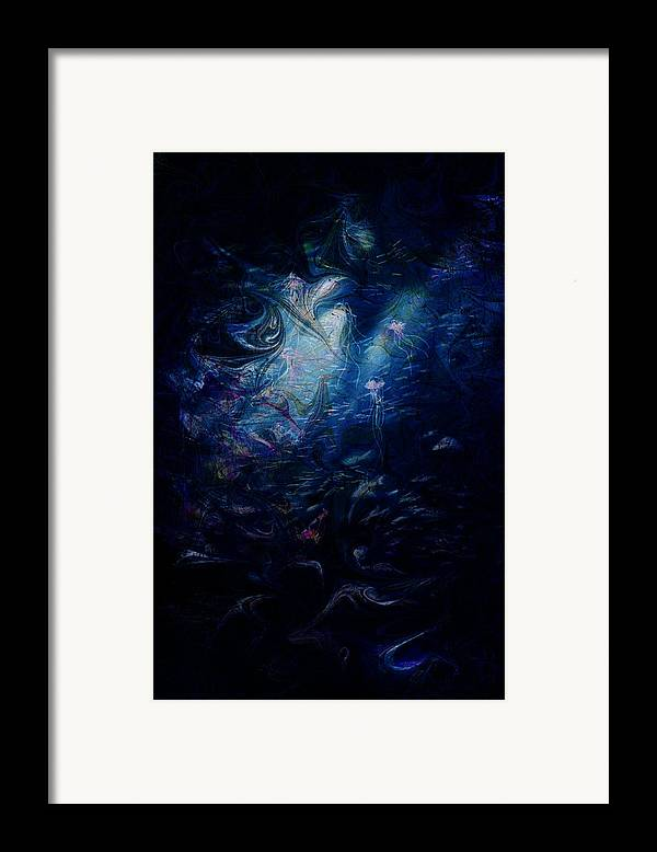 Abstract Framed Print featuring the digital art Under The Sea by Rachel Christine Nowicki