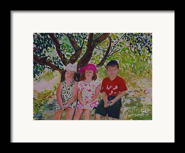 Portrait Children Original Illustration Leilaatkinson Framed Print featuring the painting Under The Shade Of A Tree by Leila Atkinson
