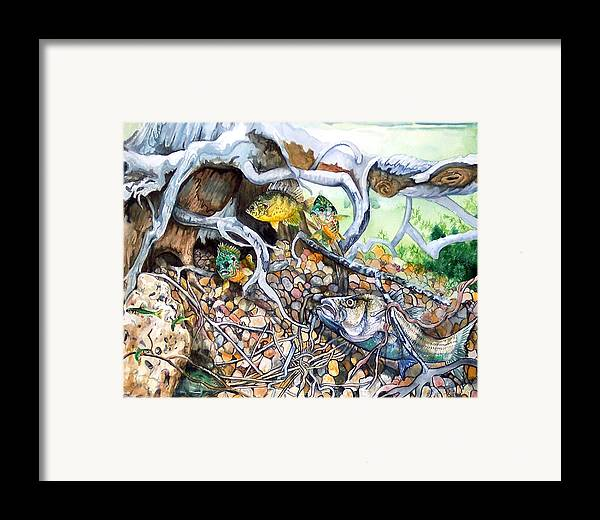 Fish Framed Print featuring the print Underwater Dinning by Bette Gray