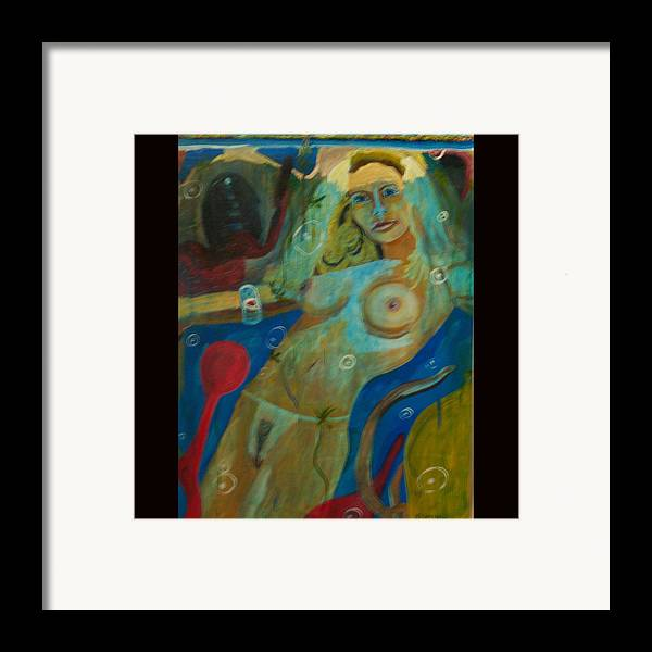 Nude Framed Print featuring the painting Underwater by Dominic Angarano
