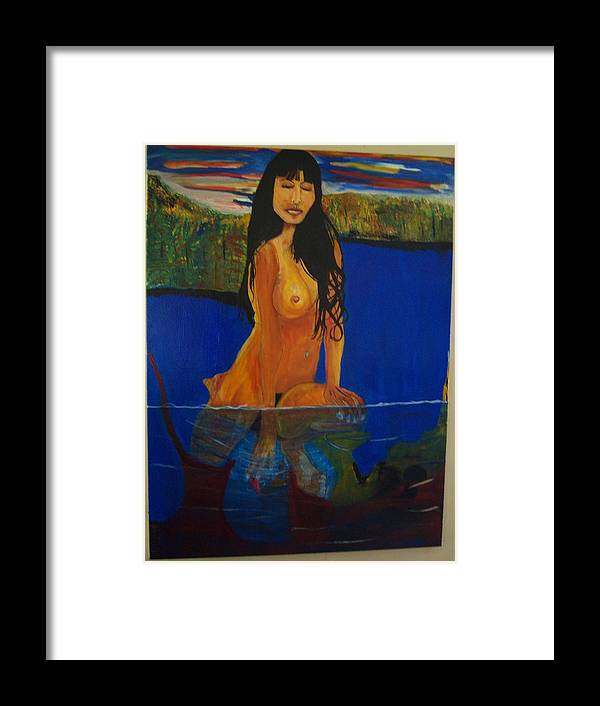 Nude Framed Print featuring the painting Underwater Woman by Dominic Angarano