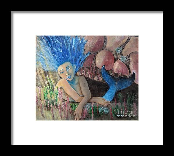 Mermaid Framed Print featuring the painting Underwater Wondering by Laurie Morgan