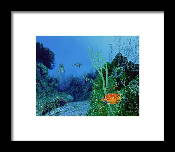Dolphin Framed Print featuring the painting Underwter by Stan Hamilton