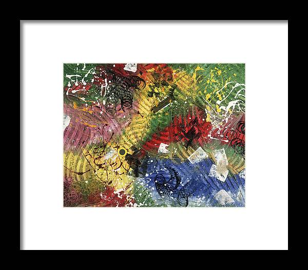 Abstract Framed Print featuring the painting Une Visite Vous Convaincra by Dominique Boutaud
