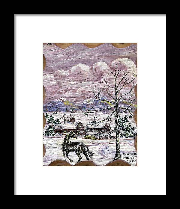 Snow Scene Framed Print featuring the painting Unexpected Guest II by Phyllis Mae Richardson Fisher