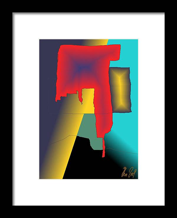 Red Framed Print featuring the digital art Unexpected- Red by Helmut Rottler