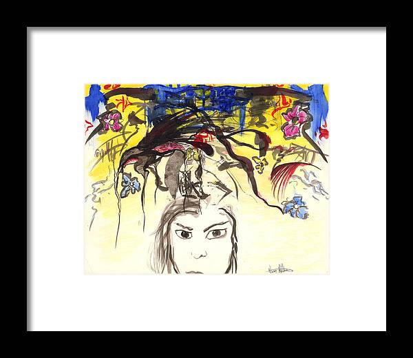 Abstract Framed Print featuring the painting Unfamiliar by Nathaniel Hoffman