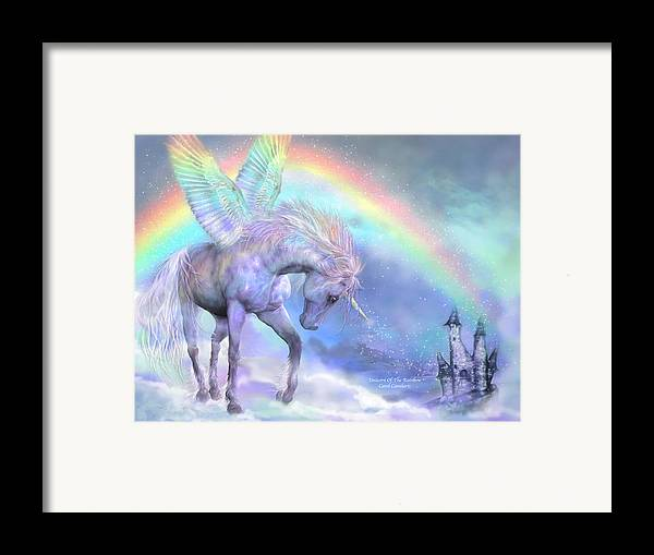 Unicorn Framed Print featuring the mixed media Unicorn Of The Rainbow by Carol Cavalaris