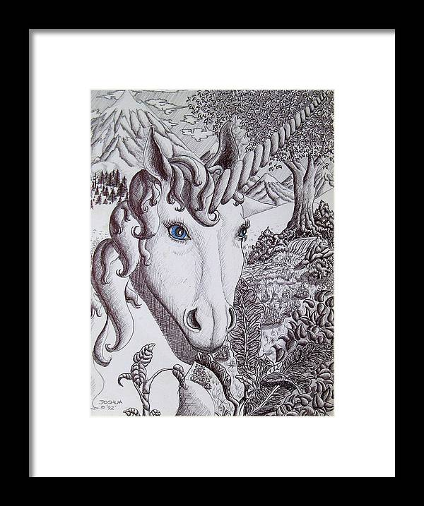 Unicorn Framed Print featuring the painting Unicorn On Vacation by Joshua Armstrong